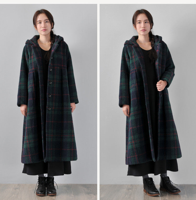 Green Hooded woolen winter coat - Buykud