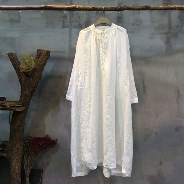 Spring Lacing Loose Casual White Dress