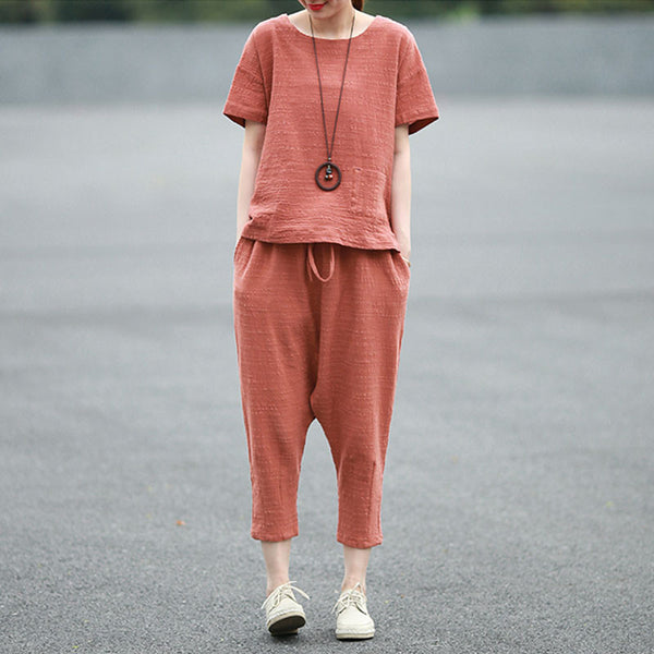 Summer Loose Women Casual Cotton Linen Red Suits