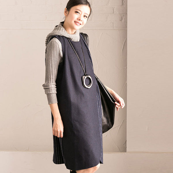 Loose Casual Splicing Stripe Round Neck Blue Vest