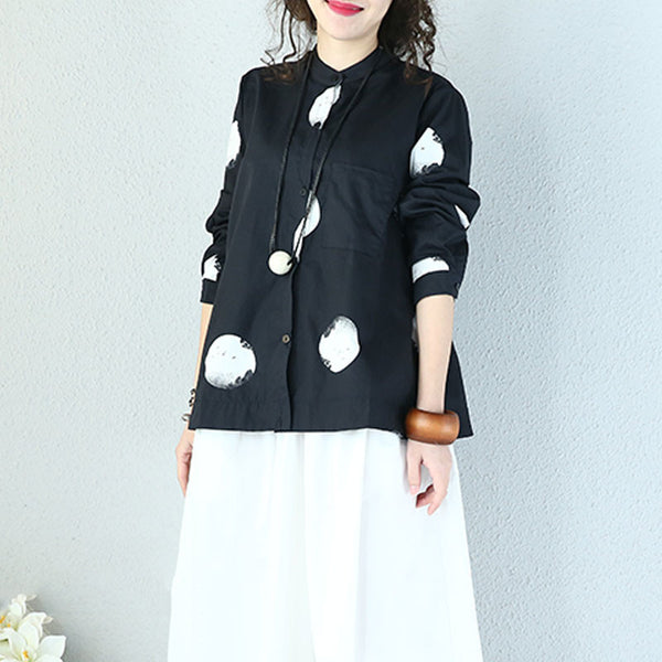 Loose Casual Cotton Dot Black Shirt