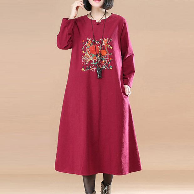 Ethnic Embroidery Floral Image Long Sleeves Cotton Linen Wine Red Women Dress - Buykud
