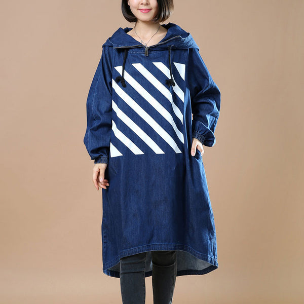 Hooded Casual Denim Blue Outerwear