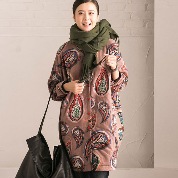 Winter Printing Loose Thickening Light Brown Cotton Blouse Coat