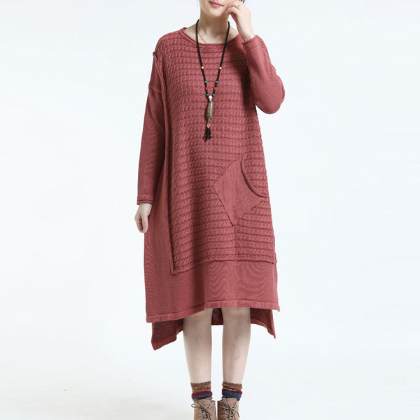Causal Long Loose Round Neck Knitted Sweater Dress Orange