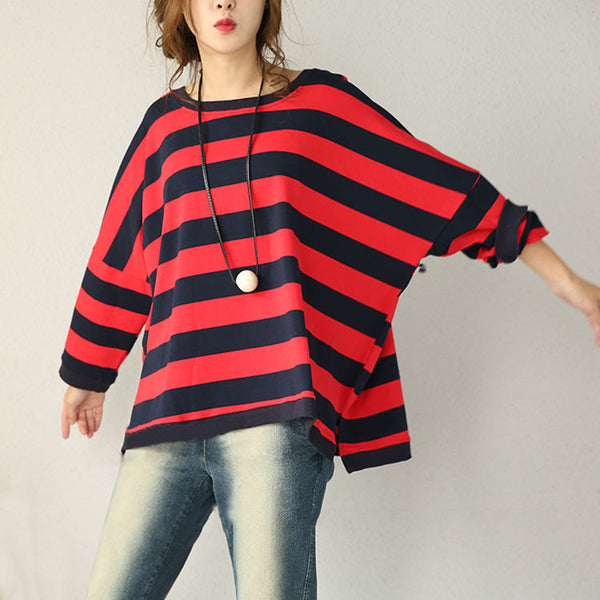 Loose Bat Sleeve Striped Cotton Shirt