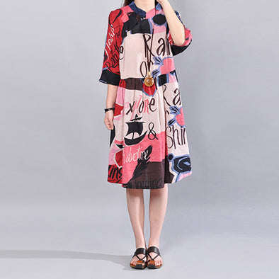 Cotton Pocket Printing Three Quarter Sleeves Women Pink Dress - Buykud