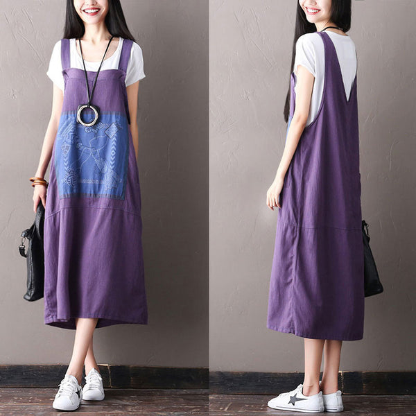 Summer Applique Printing Purple Slip Dress