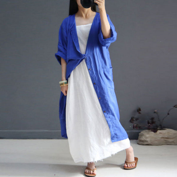 Women Loose Retro Pocket Blue Long Shirt