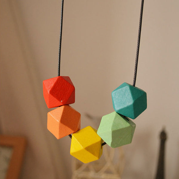 Multicolor Geometry Wooden Beads Pendant Necklaces