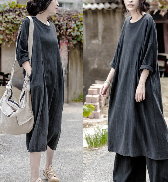 Women Autumn Linen Long Sleeve Dress