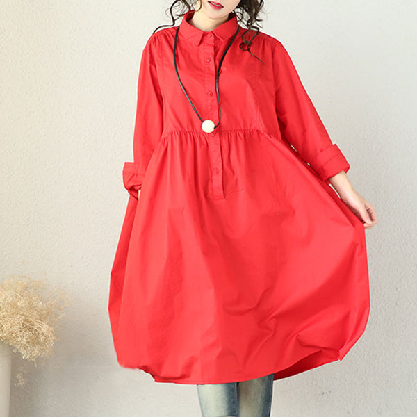 Spring High Waist Loose Red Pleated Dress - Buykud