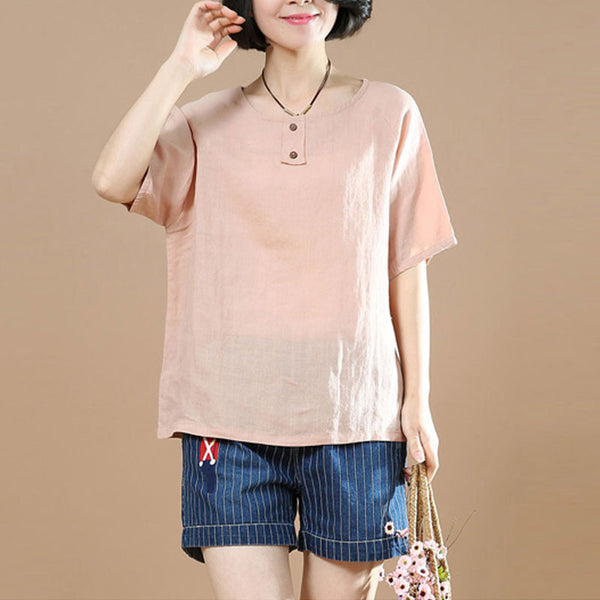 Loose Linen Women Casual Cotton Straight Pink Shirt