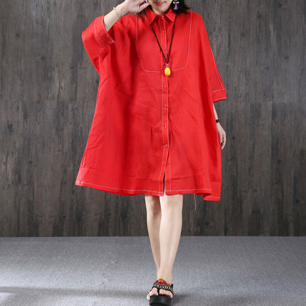 Loose Bat Sleeve Linen Red Dress