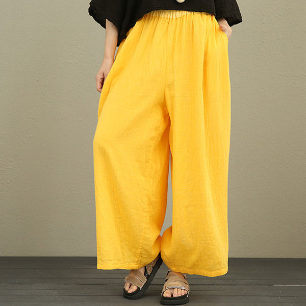Women Cotton Wide Leg Pants Elastic Waist Solid Yellow Pants