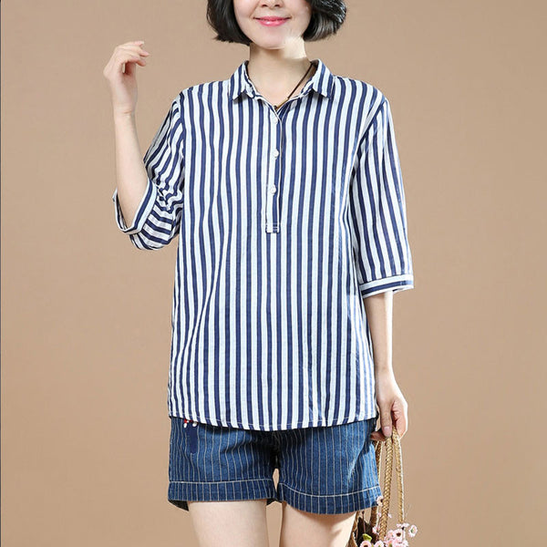 Women Straight Cotton Stripe Irregular Navy Blue Shirt - Buykud