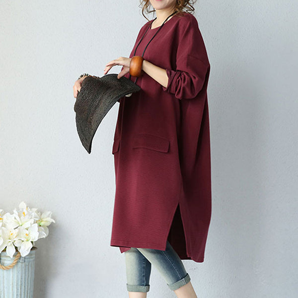 Loose Casual Round Neck Dress - Buykud