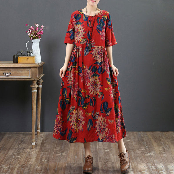 Ethnic Loose Women Short Sleeve Retro Printed Dress - Buykud
