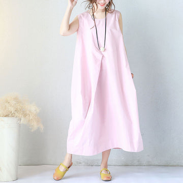 Women Summer Round Neck Cotton Loose Literature Sleeveless Pink Dress - Buykud