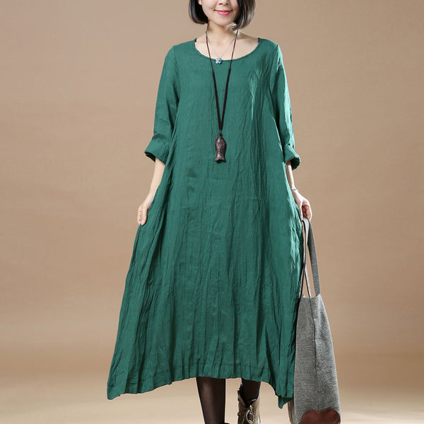 Women Retro Round Neck Linen Green Dress - Buykud