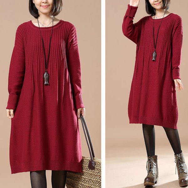 Red Loose Round Neck Sweater