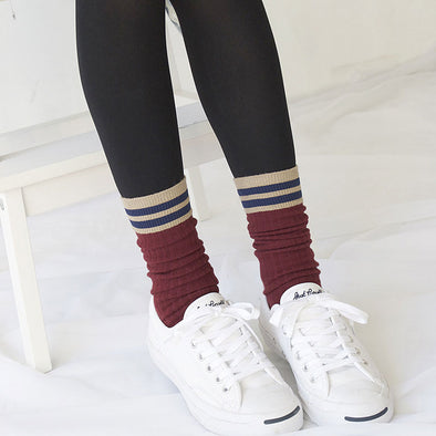 Casual Women Stripe Knitting Warm Socks - Buykud