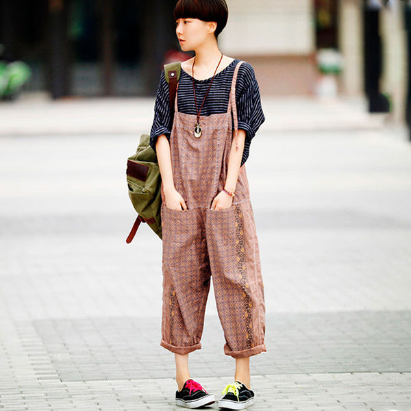 Casual Printing Pocket Women Coffee Overalls