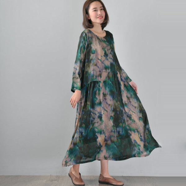 Retro Long Sleeves Printing Casual Loose Green Dress