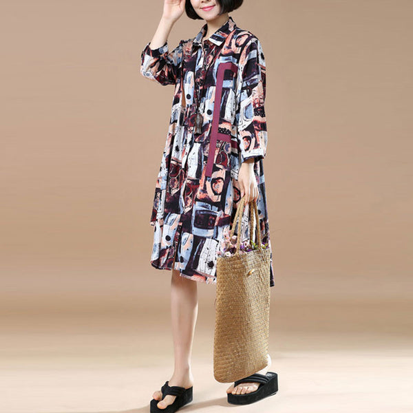 Women Retro Loose Printing Cotton Red Dress