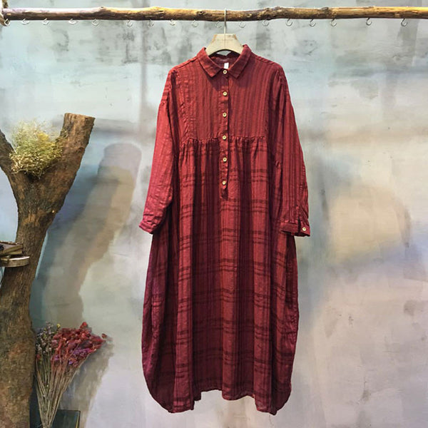 Casual Loose Polo Collar Wine Red Dress