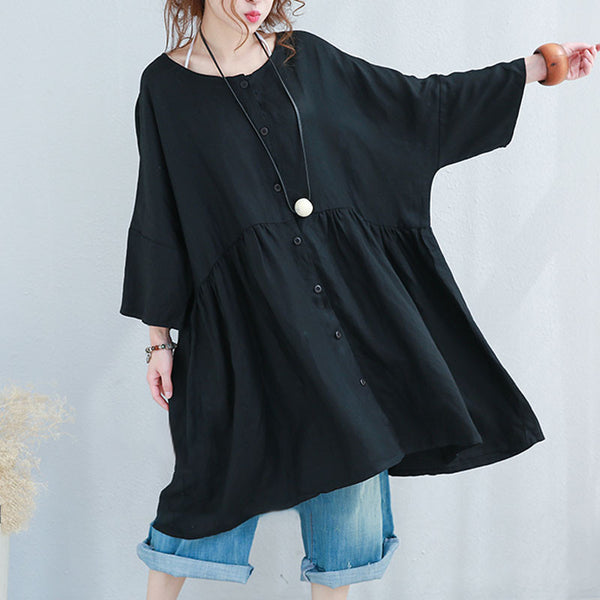 Loose Casual Women Splicing Linen Black Shirt Dress