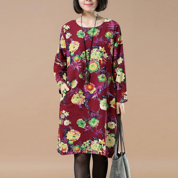 Retro Round Neck Printing Plus Szie Red Dress - Buykud