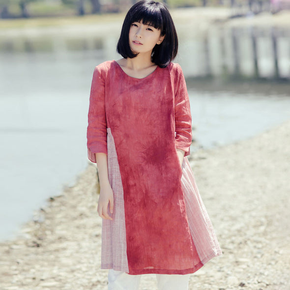 Round Neck Loose Pleated Splicing Women Casual Red Dress - Buykud