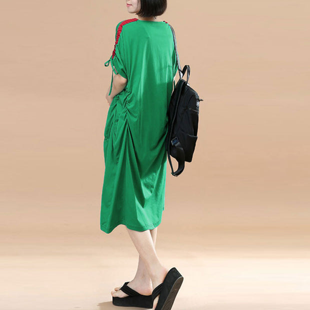 Splicing Women Loose Casual Summer String Folded Cotton Green Dress - Buykud