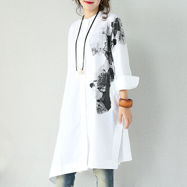 White Ink Printed Cotton Shirt
