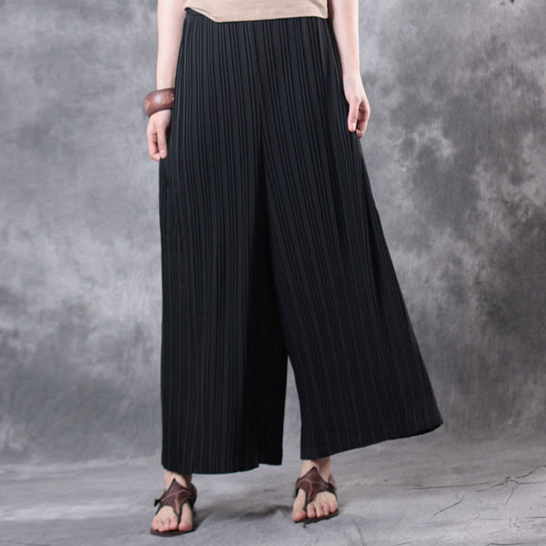 Summer Women Literature Retro Wide Leg Black Pants