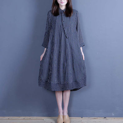 Spring Polo Collar Casual Irregular Black Stripe Dress - Buykud