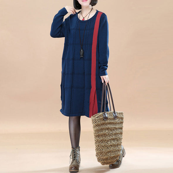 Cotton Solid Round Neck Long Sleeves Jacquard Navy Blue Women Dress - Buykud
