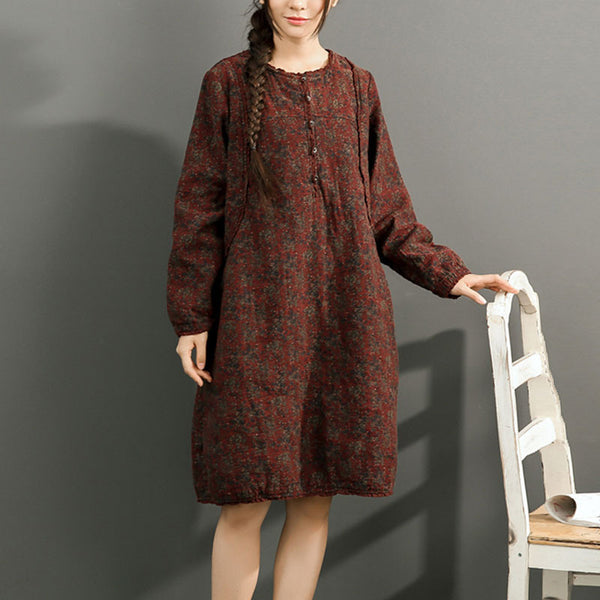 Red Loose Cotton Dress