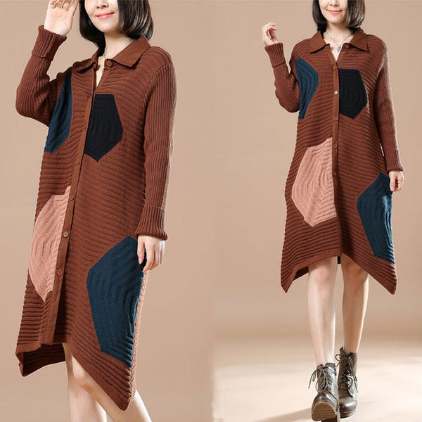 Polo Neck Long Sleeve Cardigan Brown Sweater