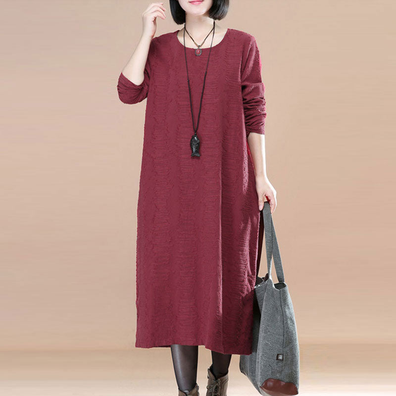 Long Sleeve Jacquard Women Round Neck Red Dress - Buykud