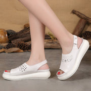 Women Hollow Casual Leather Summer White Sandals