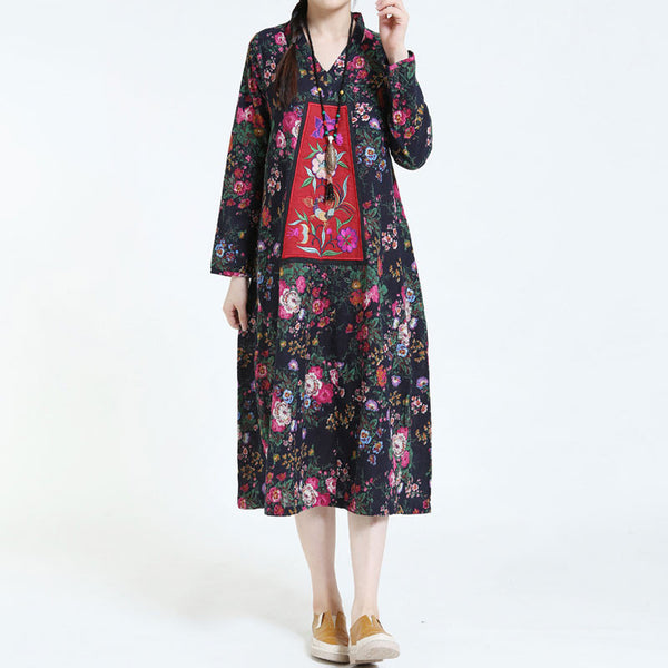 Cotton Linen Embroidery Loose Black Dress