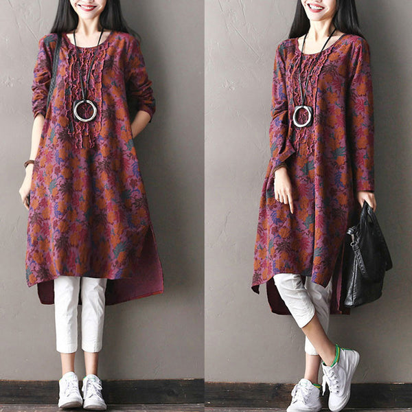 Asymmetrical Round Neck Floral Cotton And Linen Red Dress