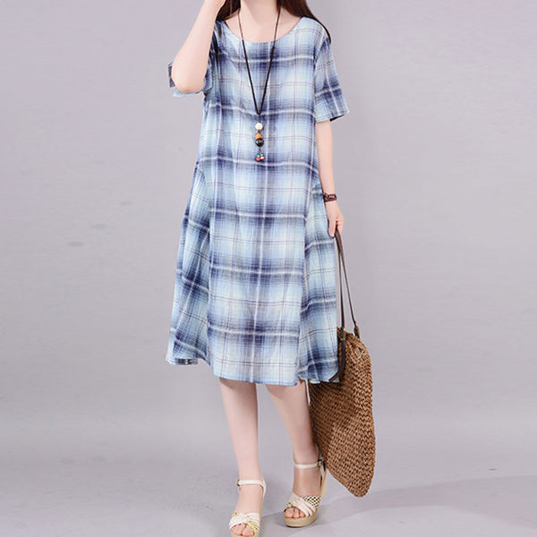 Lattice Casual Women Blue Short Sleeve Dress