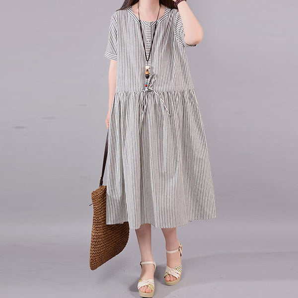 Women Cotton Short Sleeve Lacing Pleated Stripe Dress