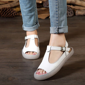 Summer Flat Heel Cow Leather Shoes Portable White Sandals