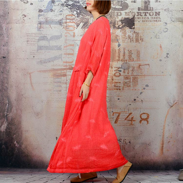 Women's Autumn Casual Embroidered Linen Red Dress