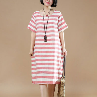 Summer Women Casual Stripe Short Sleeves Red Dress - Buykud