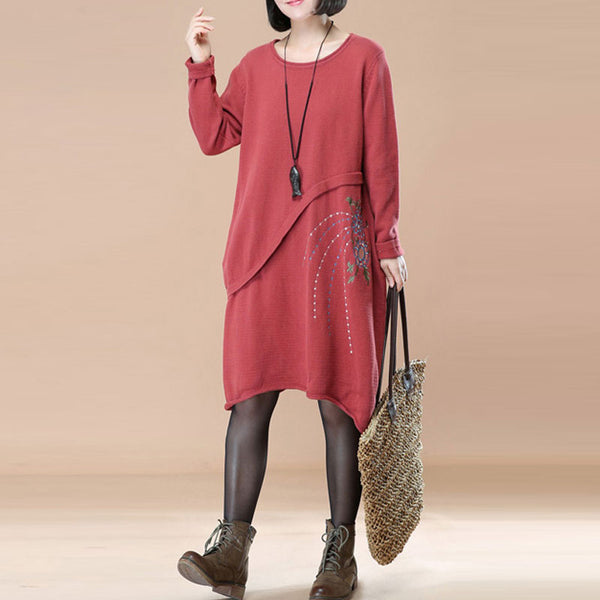 Embroidery Women Autumn Long Sleeve Wine Red Sweater Dress - Buykud